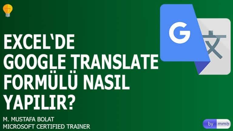 Excel'de Google Translate Formülü